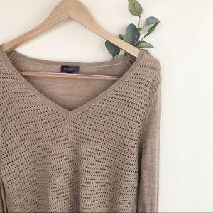 The Limited Brown Layering Semi Sheer Tan Sweater